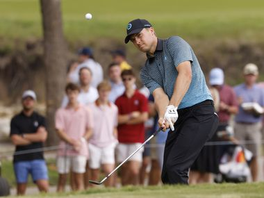 Jordan Spieth watches his ball on the 14th hole during round 3 of the AT&T Byron Nelson  at TPC Craig Ranch on Saturday, May 15, 2021 in McKinney, Texas.