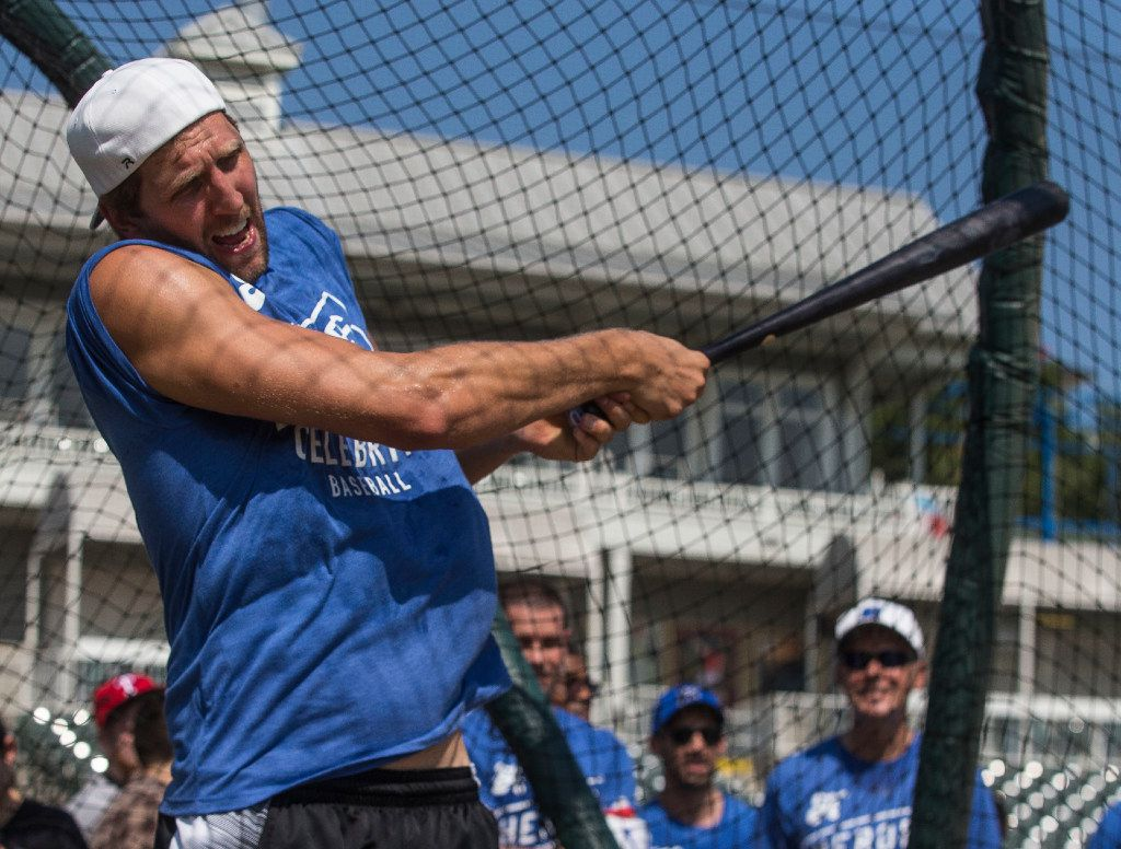 Dirk Nowitzki swings at a pitch during training camp for his 2017 Heroes Celebrity Baseball Game on Friday, June 23, 2017, at Dr Pepper Ballpark, in Frisco, Texas. Proceeds benefited the Dirk Nowitzki Foundation and the Heroes Foundation.
