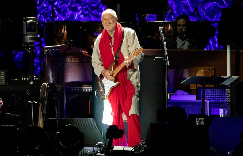 The Who's Pete Townshend performs at Fenway Park on Friday, Sept. 13, 2019, in Boston.