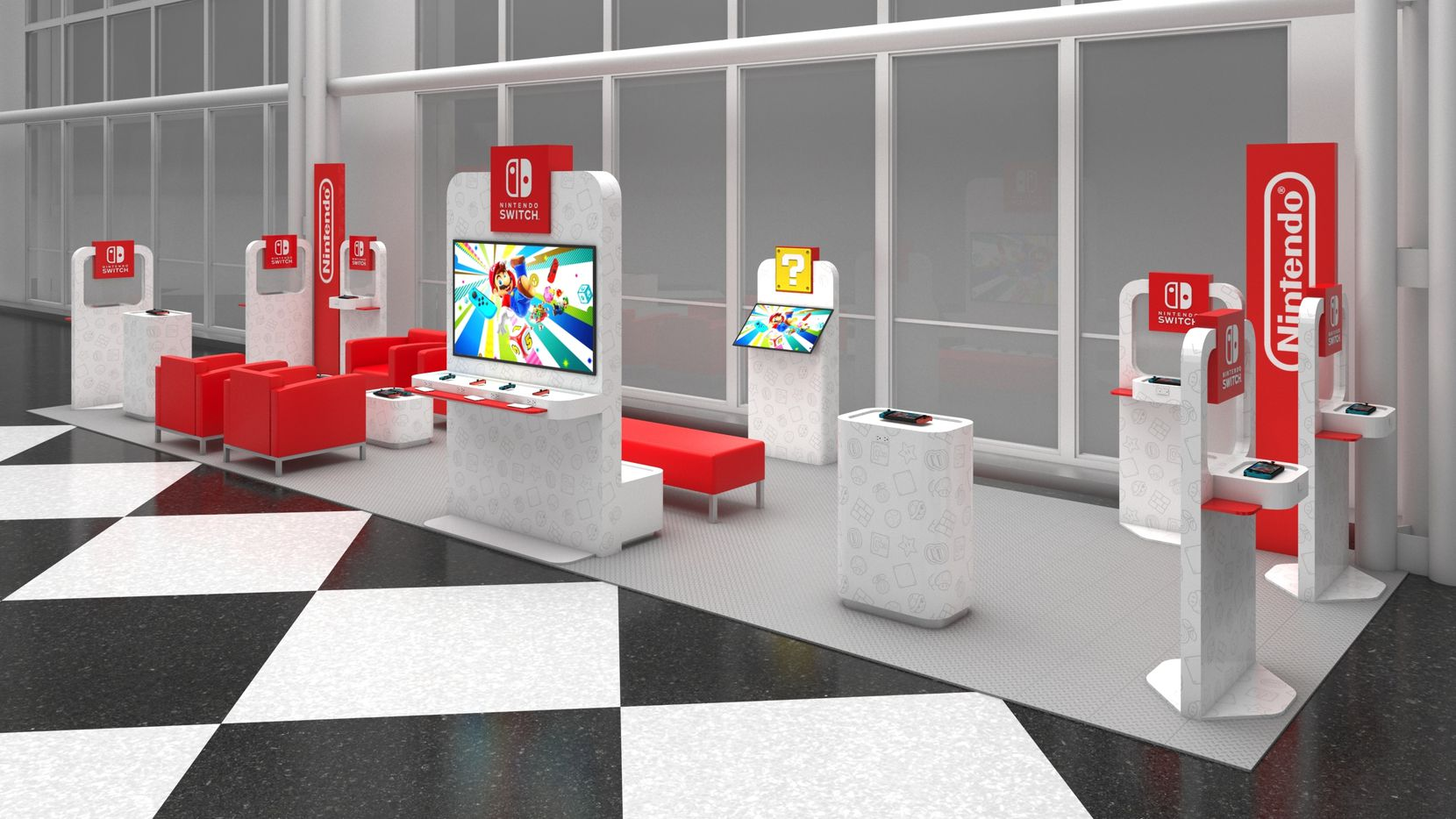 """A rendering of Nintendo's Switch """"On the Go"""" gaming pop-up event headed to Dallas Love Field."""