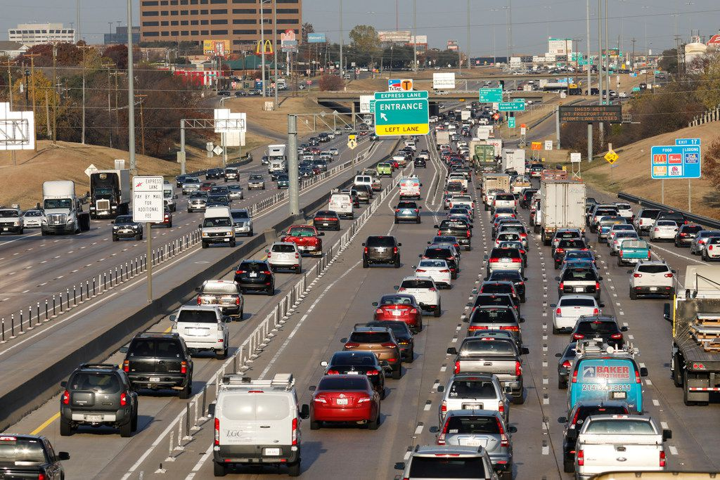 Vehicles travel east and west on Interstate 635 near Skillman Street in Dallas. Traffic here is bad, which landed Dallas in the 10th spot on a worldwide traffic study.