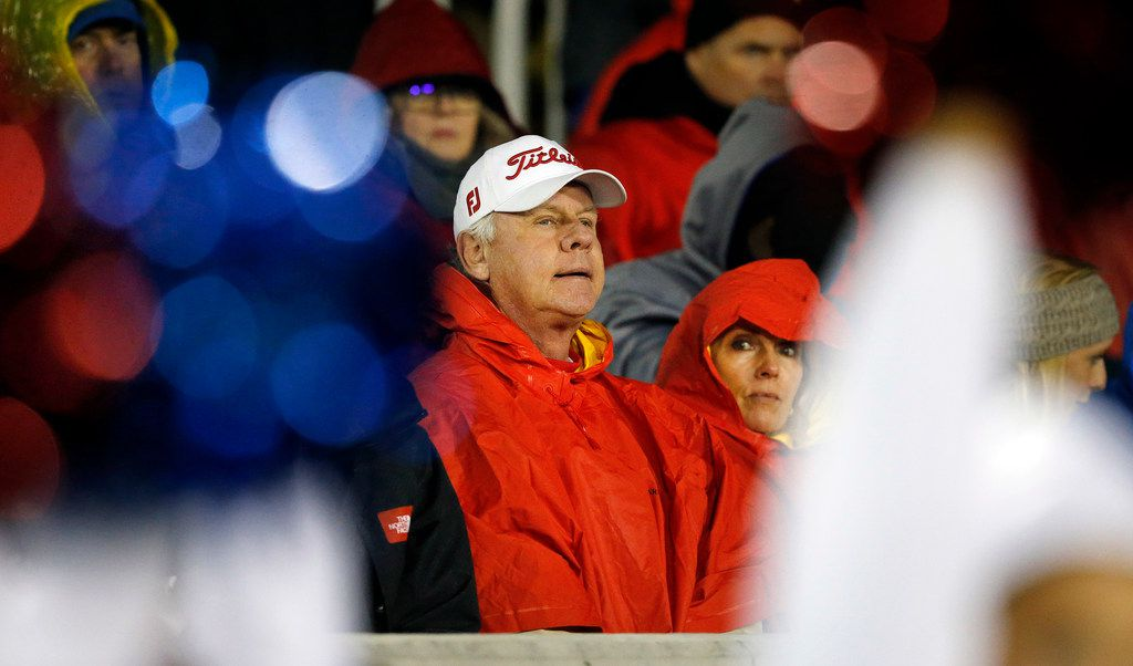 Southern Methodist Mustangs quarterback Shane Buechele's father Steve and his wife Nancy watch the Navy game in the rain at Navy-Marine Corps Memorial Stadium in Annapolis, Maryland, Saturday, November 23, 2019. The Mustangs lost to the Navy Midshipmen, 35-28. (Tom Fox/The Dallas Morning News)