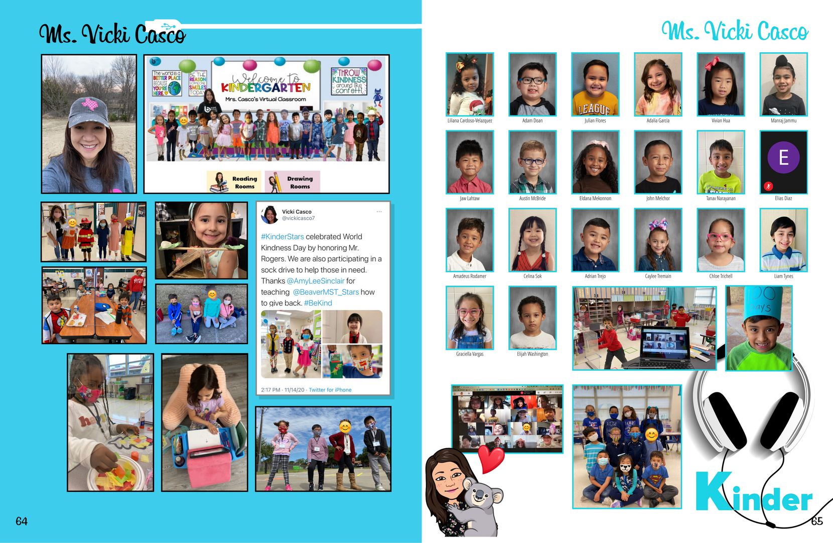 Vicki Casco teaches kindergarten at Beaver Technology Center. As with most other class spreads in the yearbook, Tevis Diaz included a Bitmoji of Casco, a relevant teacher tweet, a Google Meets screenshot of the class, shot of the entire class photoshopped together, and photos of at-home learning moments. (Courtesy Tevis Diaz and TreeRing)