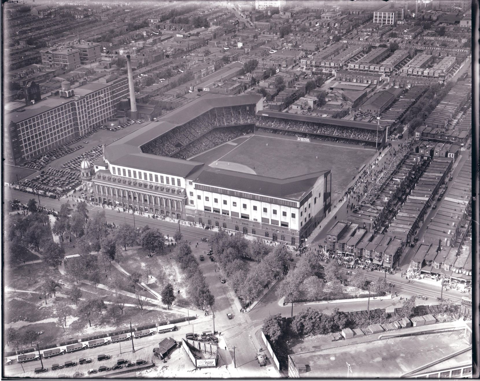 Shibe Park in Philadelphia was the home of the Athletics and eventually the Phillies.