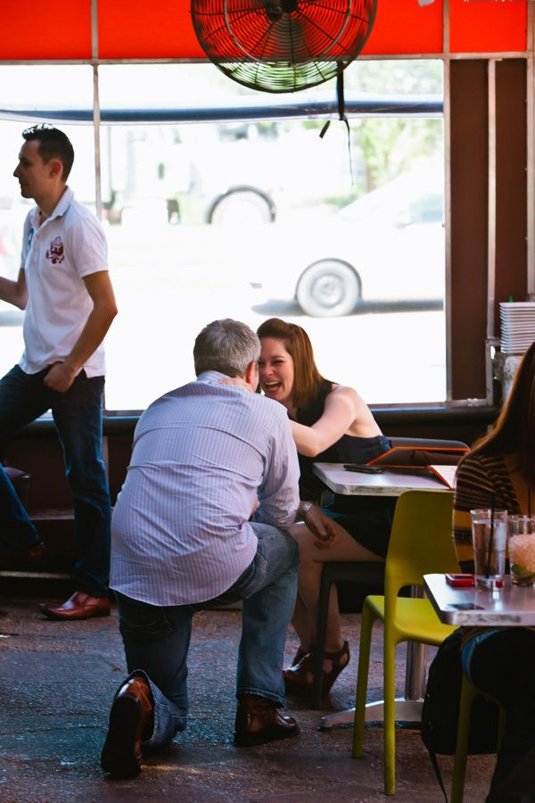 Chase Hanna surprised Sarah Blaskovich with a proposal at Bolsa in Oak Cliff in March 2012.