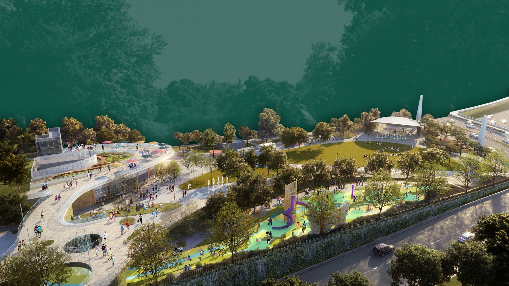 This rendering of Phase One of the Southern Gateway deck park in Dallas shows the multi-leveling of the space that reflects the topography of Oak Cliff.  Also shown is the children's play area, above the northbound I-35E service road, the stage pavilion is at upper right, the multi-purpose building at upper left and the pedestrian bridge that leads to that building.