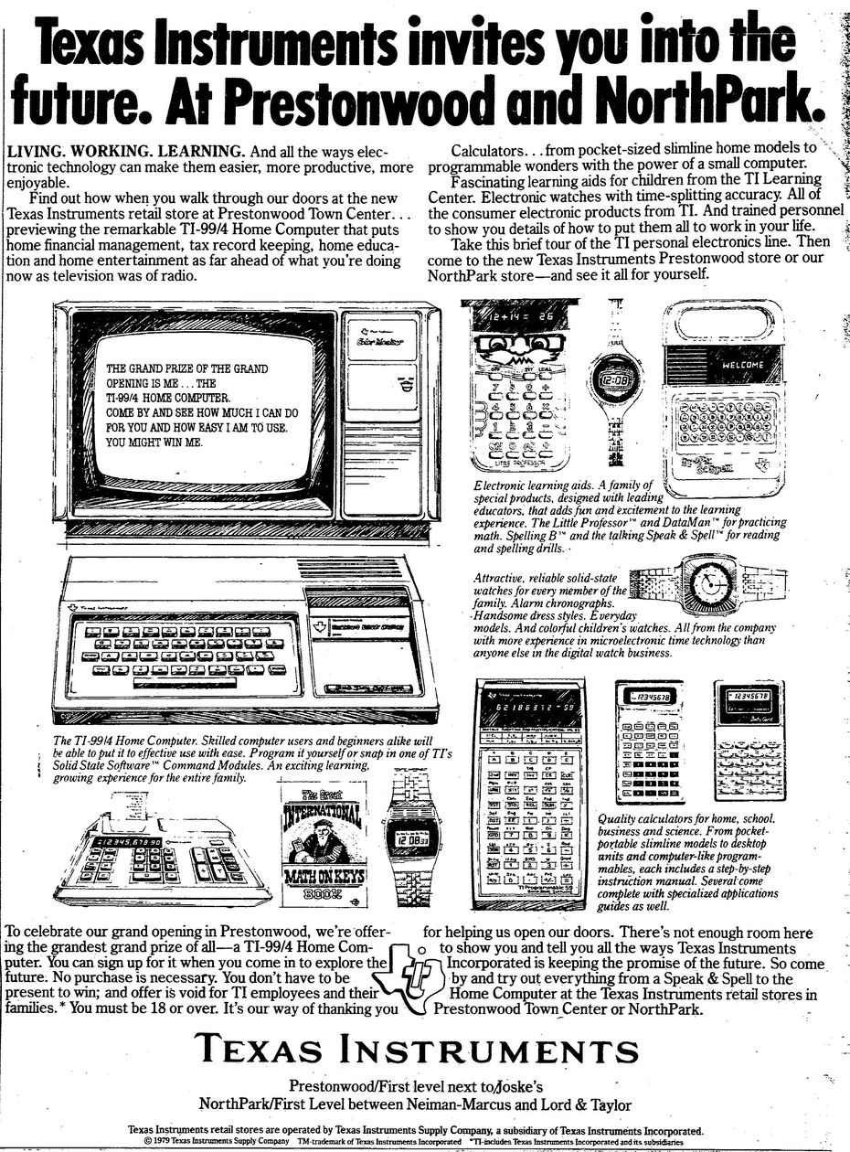 "August 5, 1979, ""Texas Instruments invites you into the future"""
