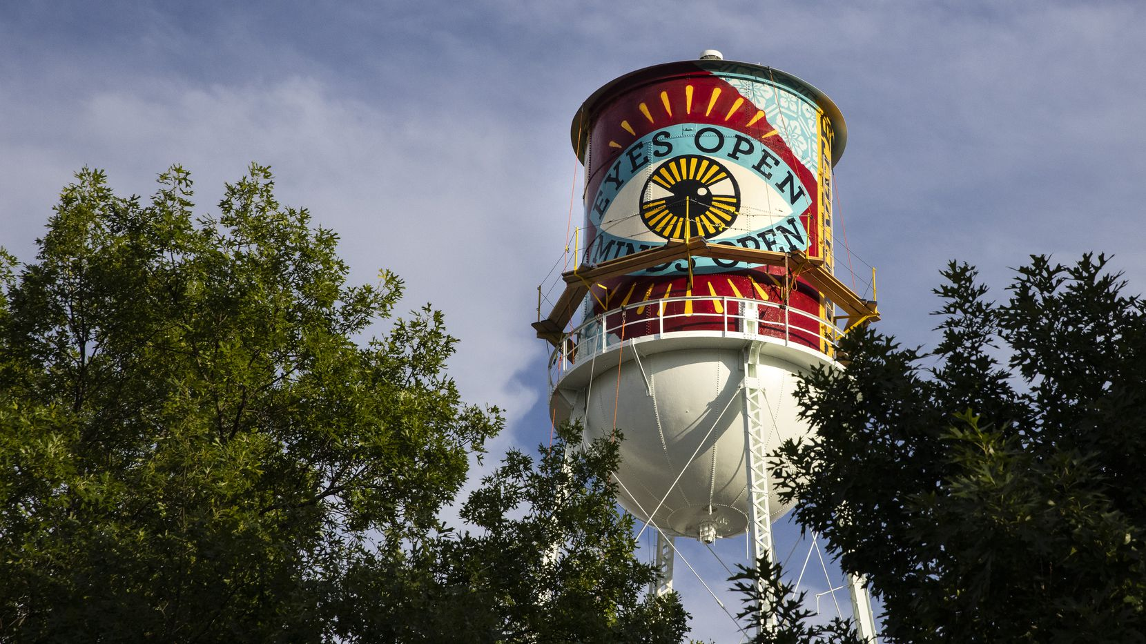 A new mural by Shepard Fairey appears on the side of a water tower by the Continental Gin Building in Deep Ellum in Dallas on Thursday, May 20, 2021.