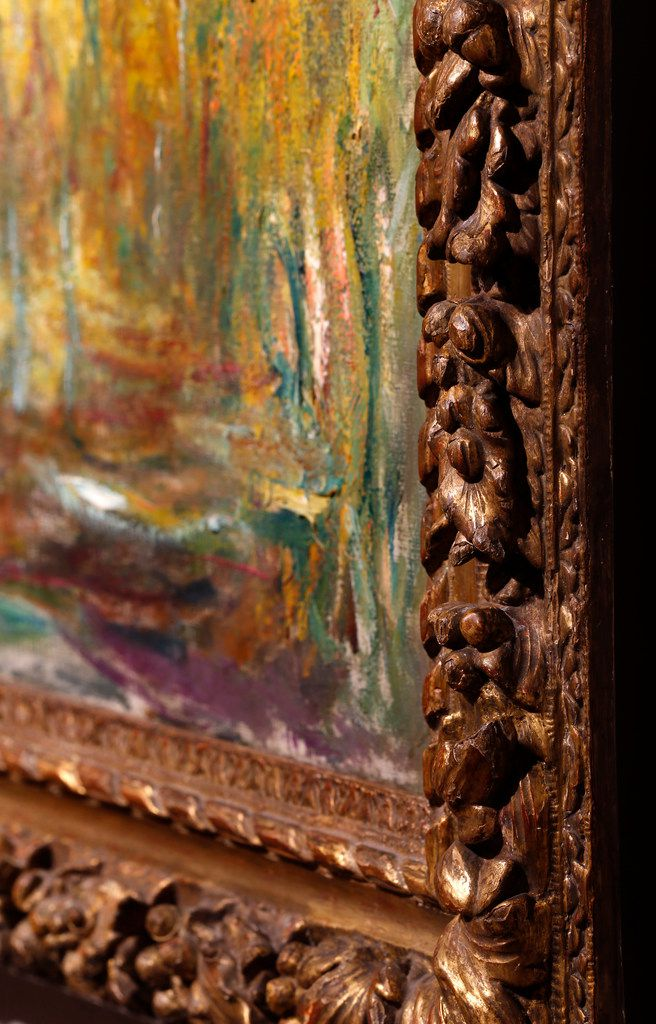 """A 17th-century King Louis XIII giltwood frame was recently acquired by the Kimbell Art Museum in Fort Worth as the aesthetic partner of the """"Weeping Willow""""  painting by Claude Monet. It is on exhibit, Wednesday, July 31, 2019. (Tom Fox/The Dallas Morning News)"""