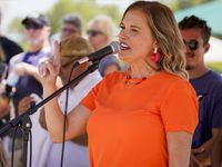 Shelley Luther addressed supporters of President Donald Trump during a rally at Grapevine Lake on Aug. 15, 2020.