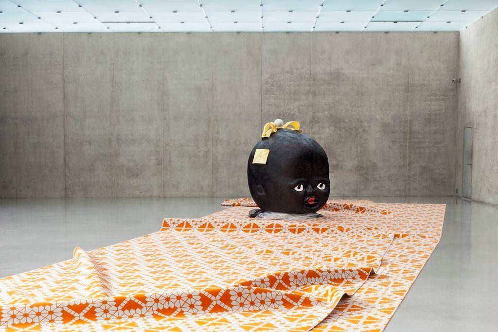 Theaster Gates' Tar Baby II, 2016, styrofoam, Bondo, tar coloring, vinyl foil, fabric