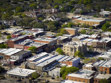 Aerial view of Courthouse Square  and historic downtown McKinney, Texas on Tuesday, March 24, 2020.
