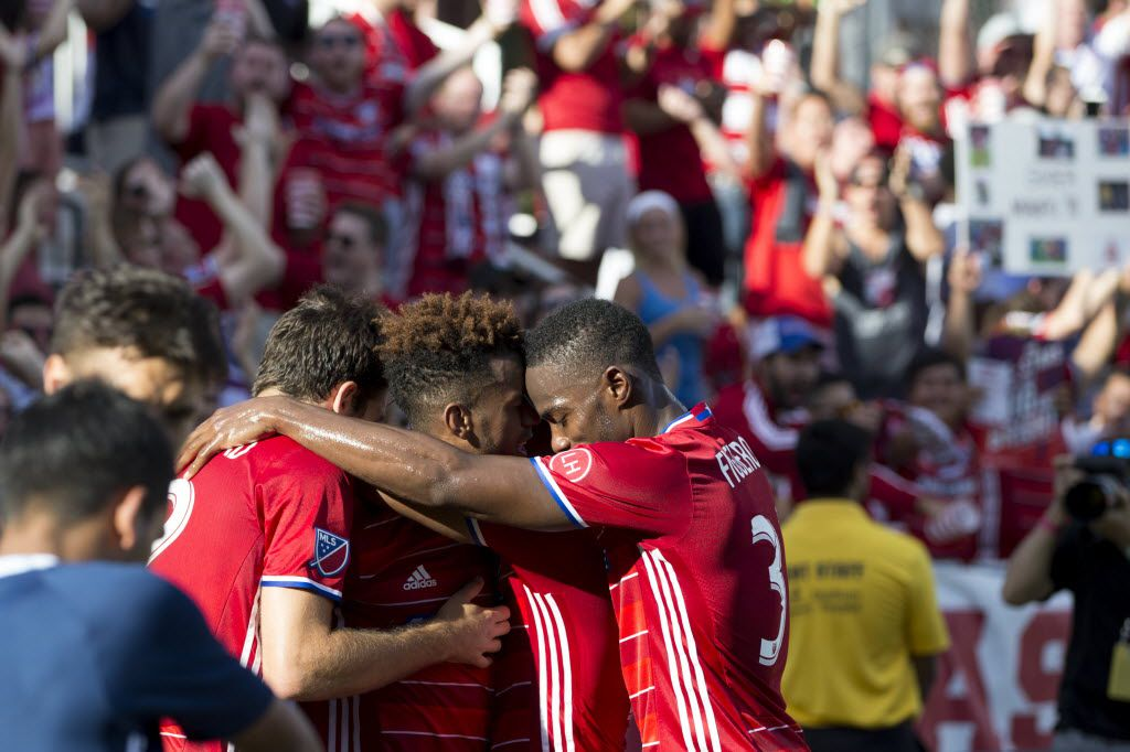 FC Dallas teammates celebrate midfielder Kellyn Acosta (23) goal during MLS match between the Vancouver Whitecaps and FC Dallas at Toyota Stadium on July 31, 2016 in Frisco, Texas. Dallas wins 2-0. (Ting Shen/The Dallas Morning News)