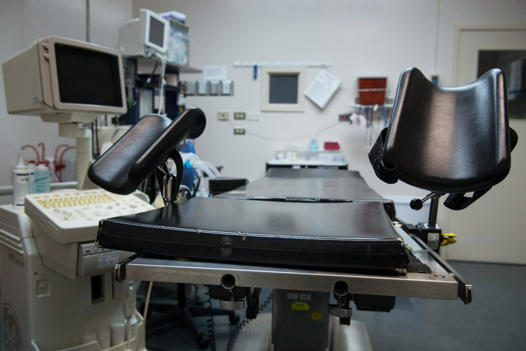 An exam table stands in an operating room at the Whole Woman's Health abortion clinic in San Antonio.