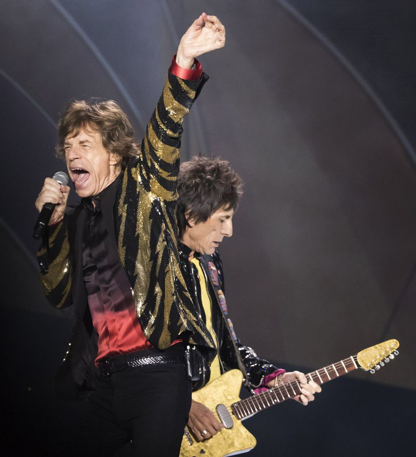 Mick Jagger and Ronnie Wood of The Rolling Stones perform at AT&T Stadium as part of their Zip Code Tour of North America on Saturday, June 6, 2015, in Arlington, Texas. (Smiley N. Pool/The Dallas Morning News)