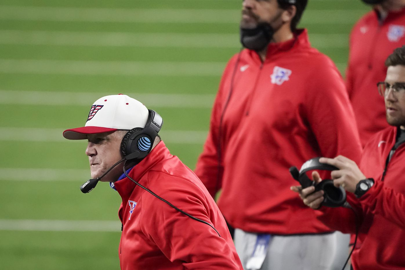 Austin Westlake head coach Todd Dodg reacts to a call during the first quarter of the Class 6A Division I state football championship game against Southlake Carroll at AT&T Stadium on Saturday, Jan. 16, 2021, in Arlington, Texas.