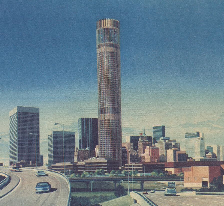 In the 1960s, the round  Griffin Square tower was to include offices, a hotel, retail space and an observation deck. (File photo/Staff)