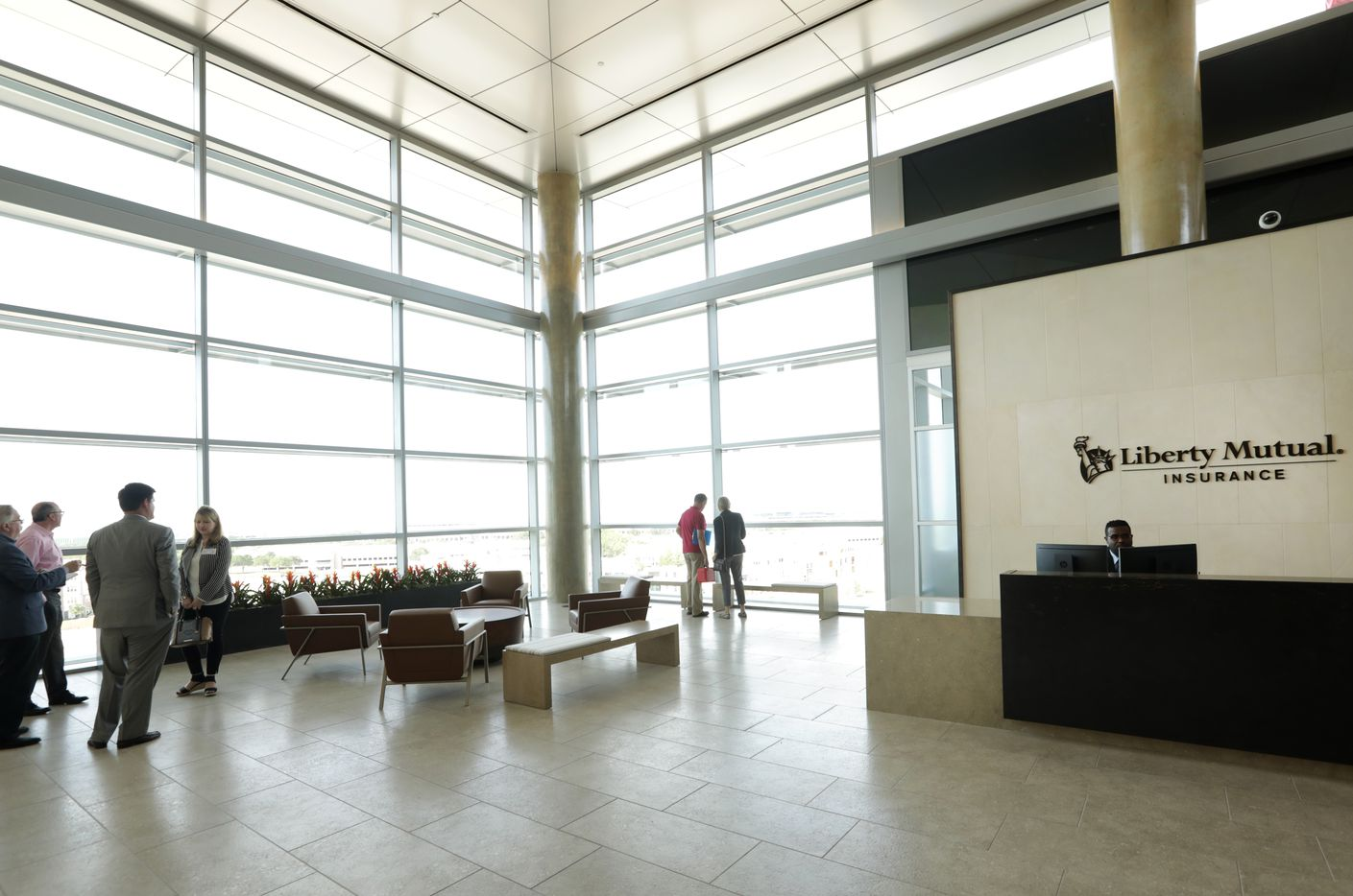 The Liberty Mutual Insurance reception area on the eighth floor where most visitors and employees enter.