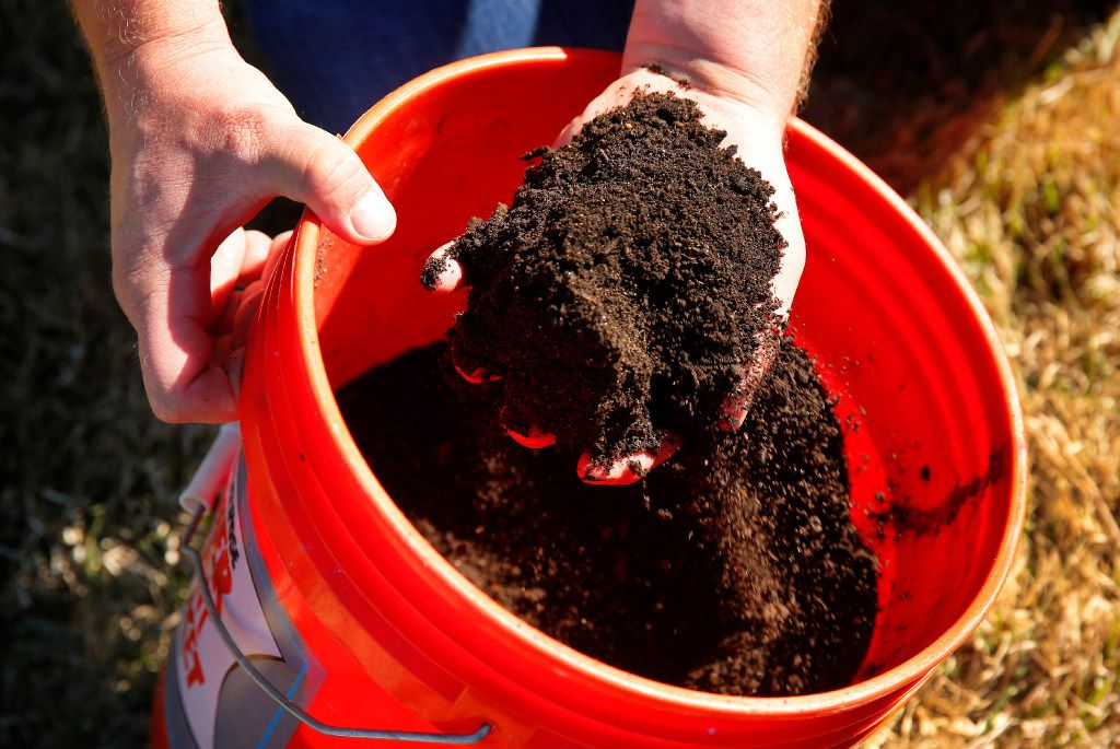 Daniel Cunningham shows what the bokashi pre-compost will turn into after adding it to a garden.