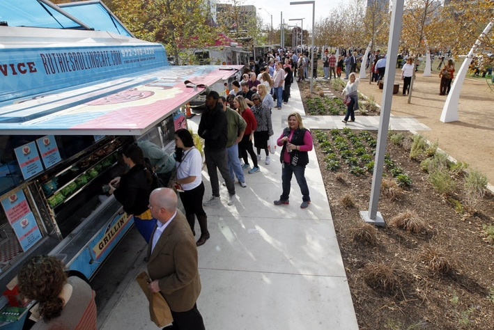 Under a new ordinance, Mesquite could someday have a smaller version of the food truck park at Klyde Warren Park in Dallas.