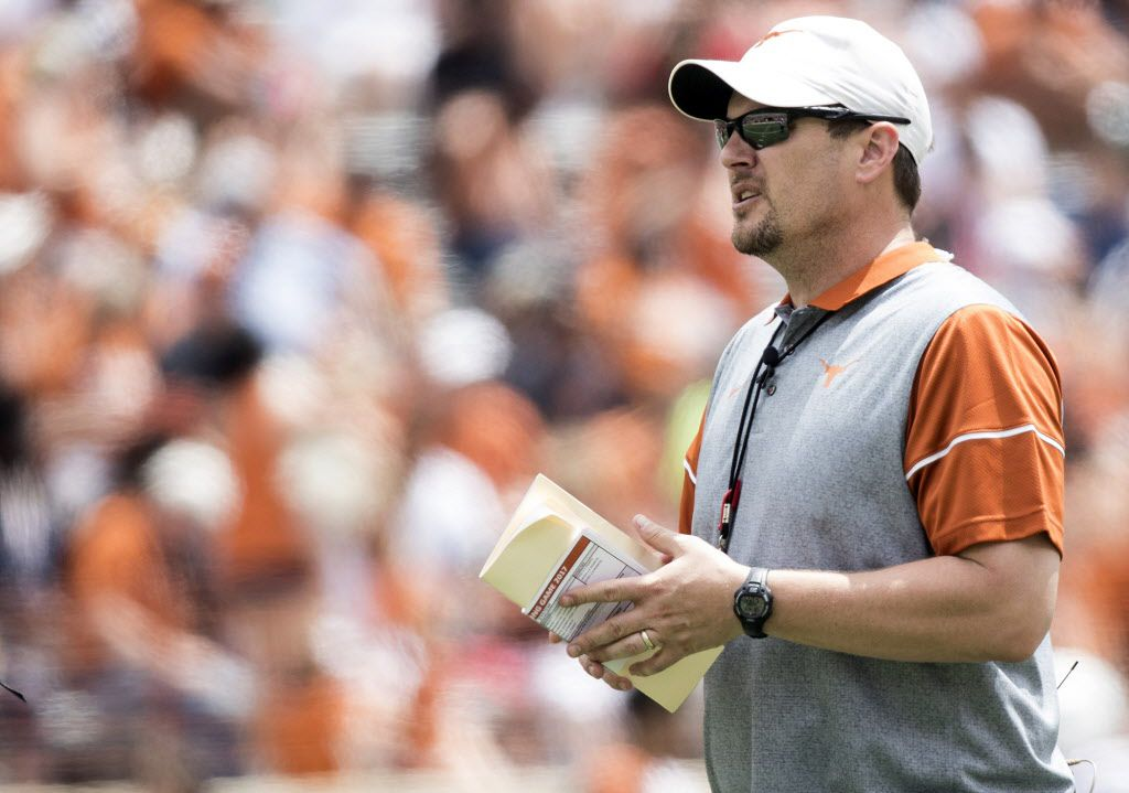 Texas head coach Tom Herman looks on during the Orange and White spring NCAA college football game Saturday, April 15, 2017, in Austin, Texas. (Ricardo B. Brazziell/Austin American-Statesman via AP)