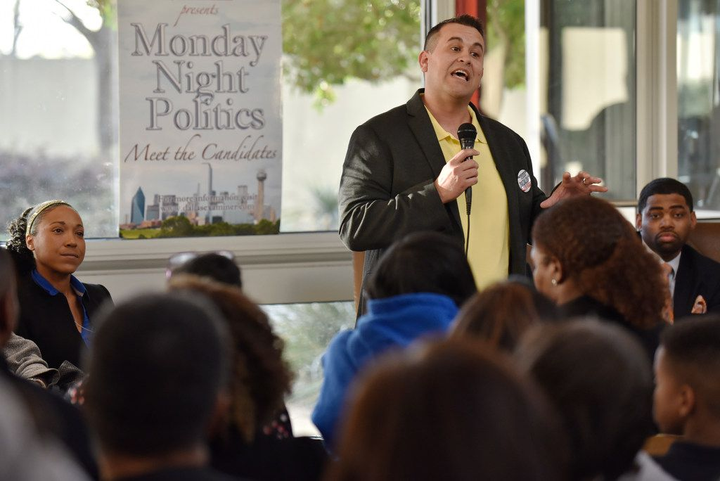 Candidate Adam Bazaldua for city council district 7 speaks during Monday Night Politics with the candidates, presented by The Dallas Examiner, Monday March 25, 2019 at the African American Museum at Fair Park in Dallas. Ben Torres/Special Contributor