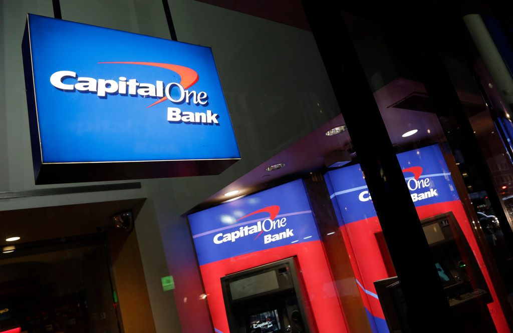 This file photo shows a Capital One bank in New York.