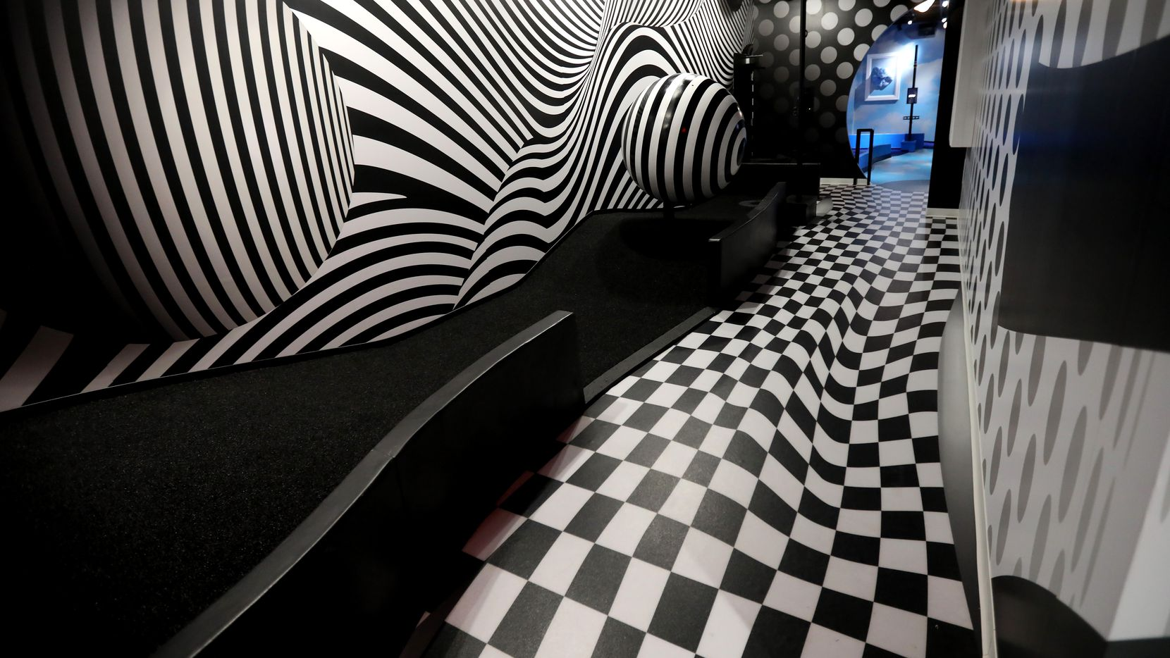 A hole in the Illusion room at Puttery, a new indoor mini golf and entertainment concept in The Colony, Texas, Monday, August 30, 2021. (Anja Schlein/Special Contributor)