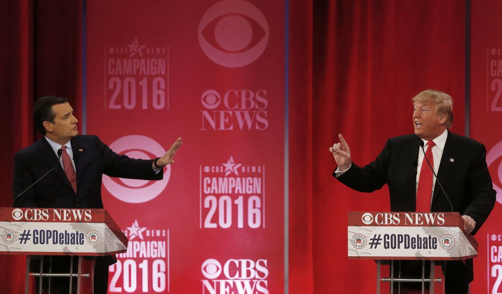 Ted Cruz and Donald Trump sparred during a GOP debate in February in Greenville, S.C.  (File Photo/The Associated Press)