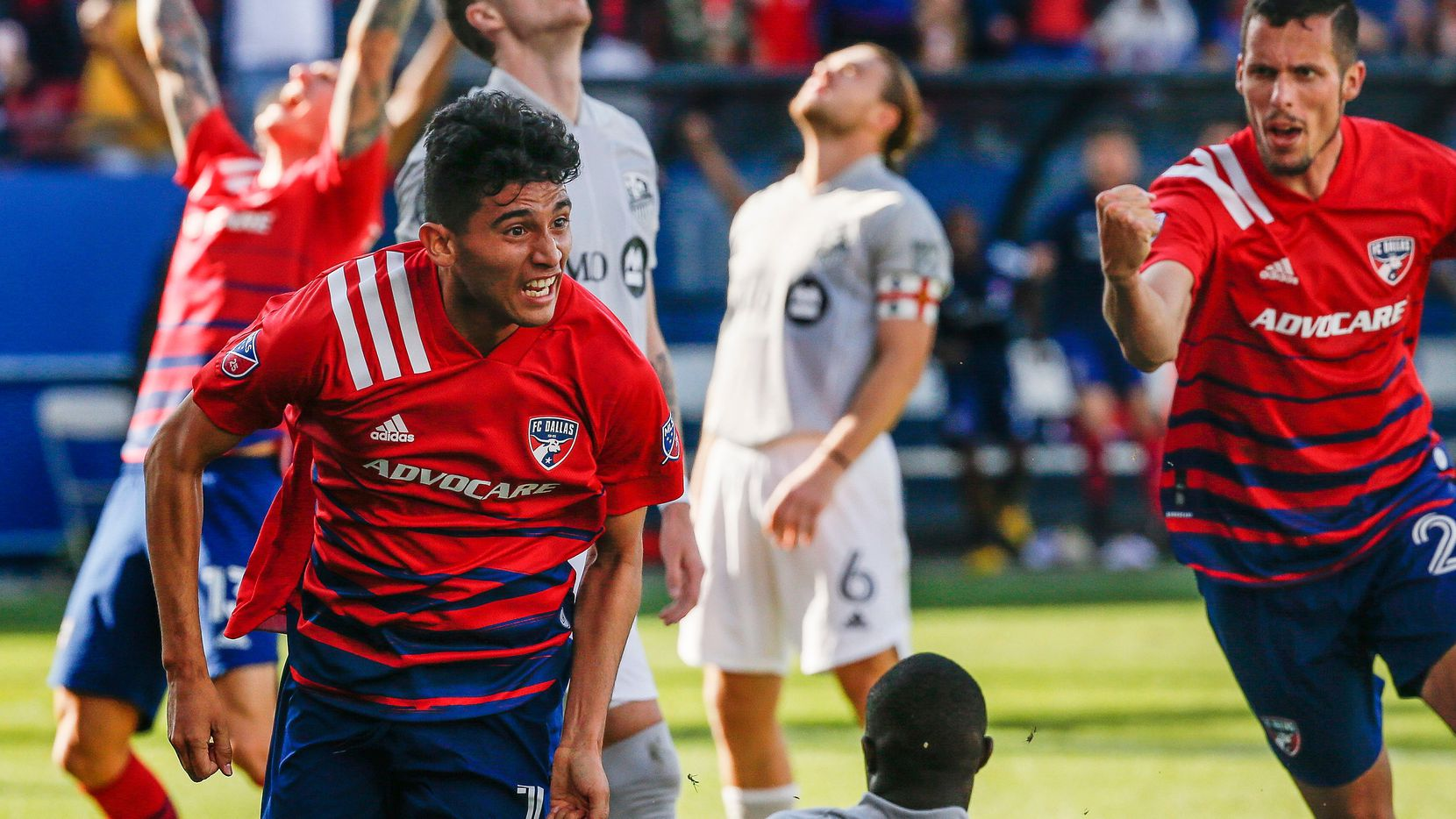 FC Dallas forward Ricardo Pepi, front left, reacts after scoring during the second half of an MLS soccer match against the Montreal Impact, Saturday, March 7, 2020, in Frisco, Texas.