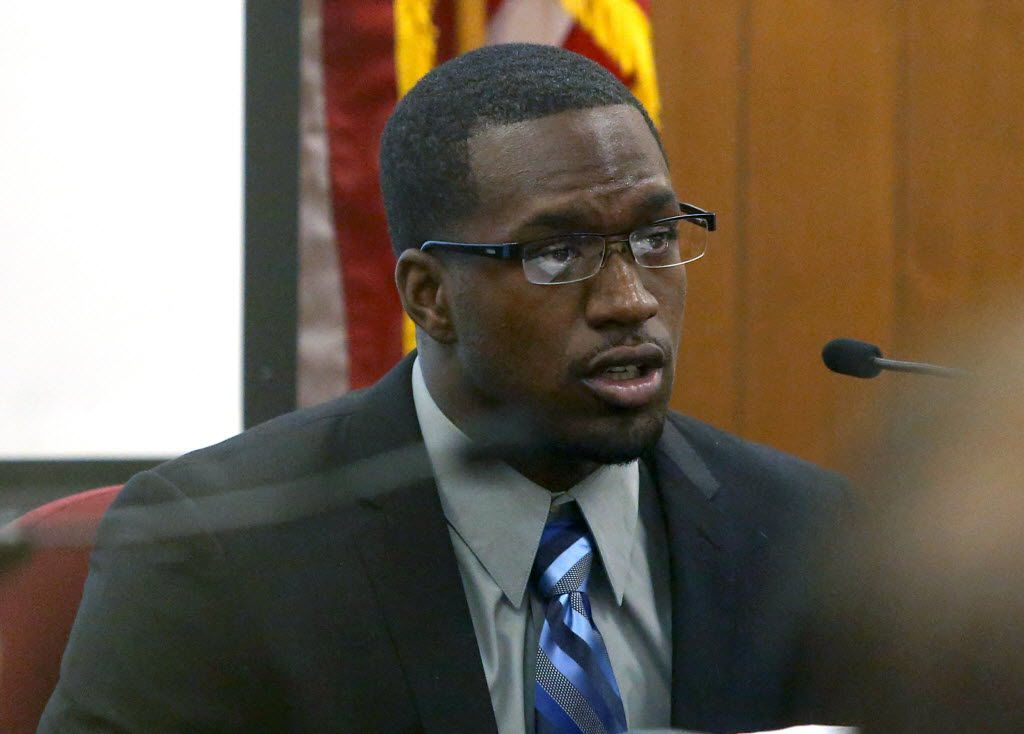 In this photo taken on Thursday, Aug. 20, 2015, Sam Ukwuachu takes the stand during his trial at Waco's 54th State District Court, in Waco, Texas. The one-time All-American who transferred to play football at Baylor University has been convicted of sexually assaulting a fellow student athlete in 2013.  (Jerry Larson/Waco Tribune-Herald via AP)