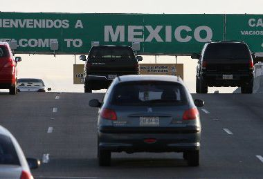 Southbound vehicles leave El Paso and enter Ciudad Juarez, Mexico, at the Bridge of the Americas.