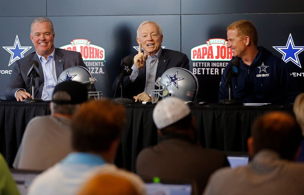 Dallas Cowboys owner Jerry Jones, center, answered questions next to executive vice president, CEO and director of player personnel Stephen Jones, left, and coach Jason Garrett during a pre-draft news conference at The Star in Frisco on Tuesday, April 24, 2018. (Jae S. Lee/The Dallas Morning News)