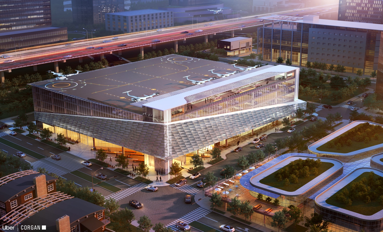 Dallas-based architectural firm Corgan's suburban skyport concept would be built atop an existing parking garage.