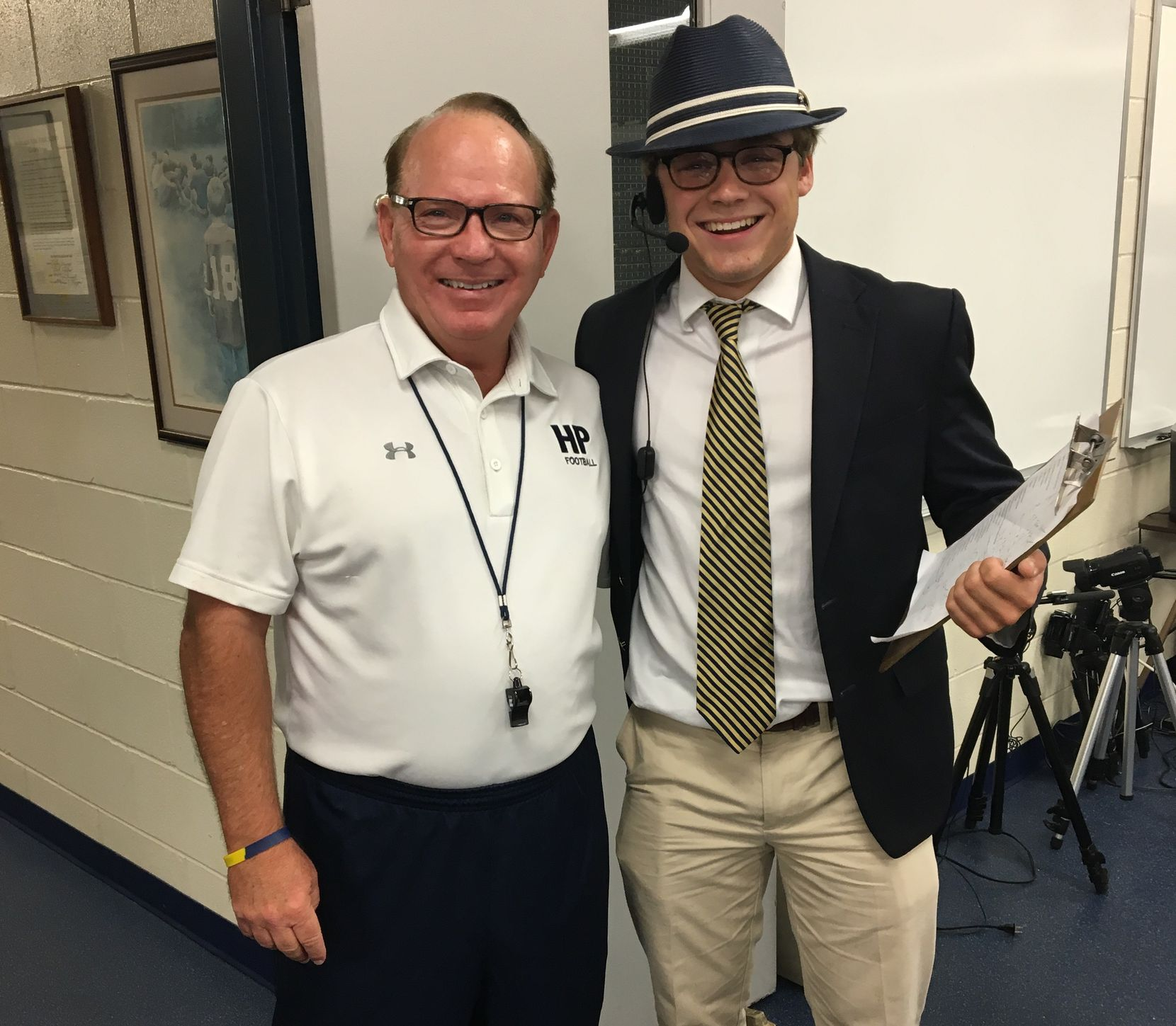 Randy Allen's grandson, Connor (right), dressed up as his grandfather for an event at Highland Park high school.