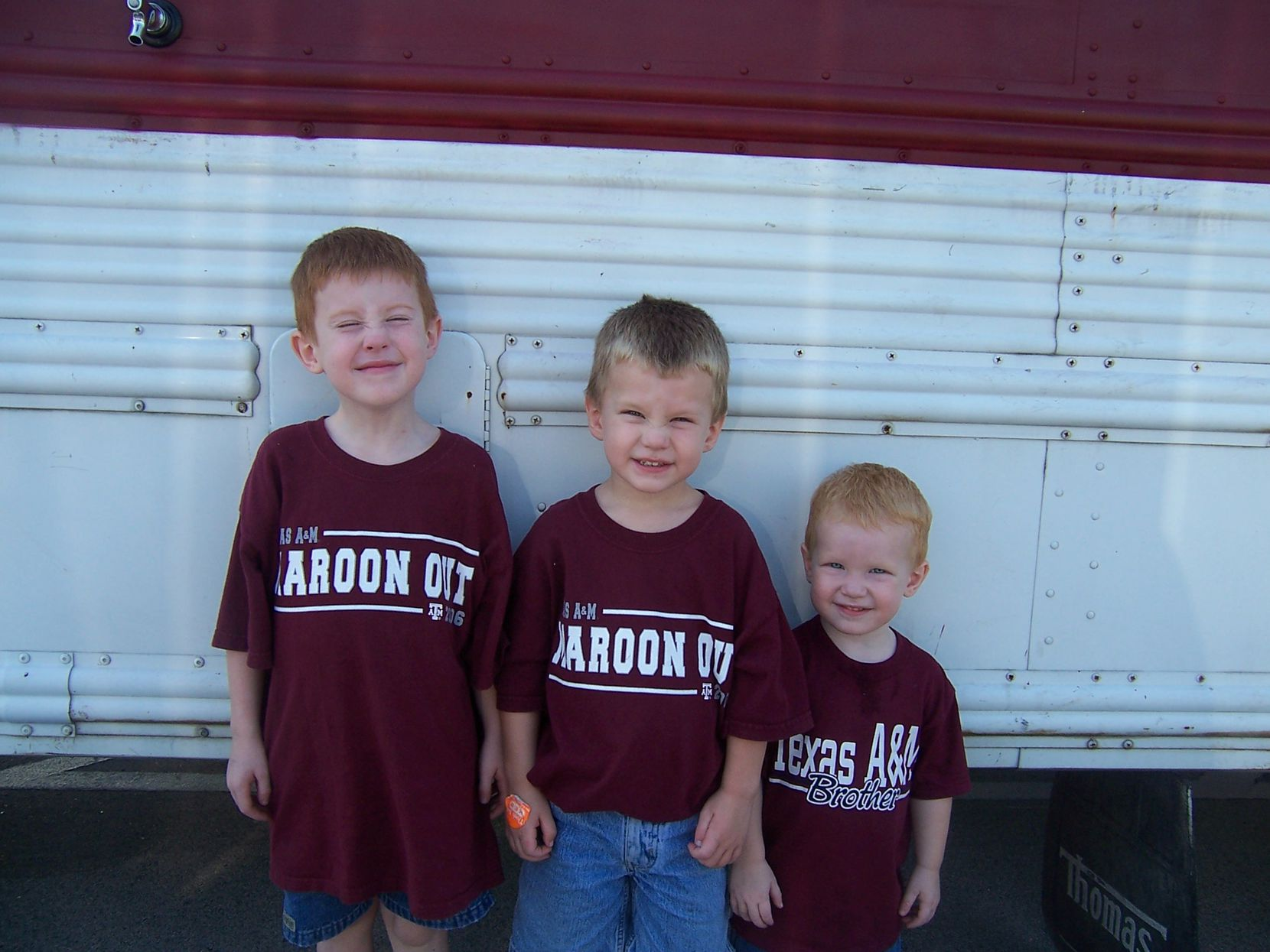 From left, Alex, Ryan and Carson Dyke before a Texas A&M football game. After Carson's death, an army of Aggies carried the Dyke family through the tragedy.