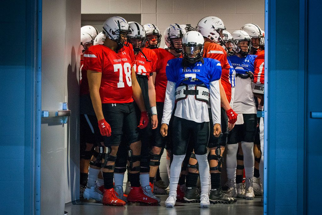 Texas Tech quarterback Jett Duffey (7) and offensive lineman Terence Steele (78) wait to take the field before the Red Raiders' spring scrimmage at the Star on Saturday, April 7, 2018, in Frisco. (Smiley N. Pool/The Dallas Morning News)