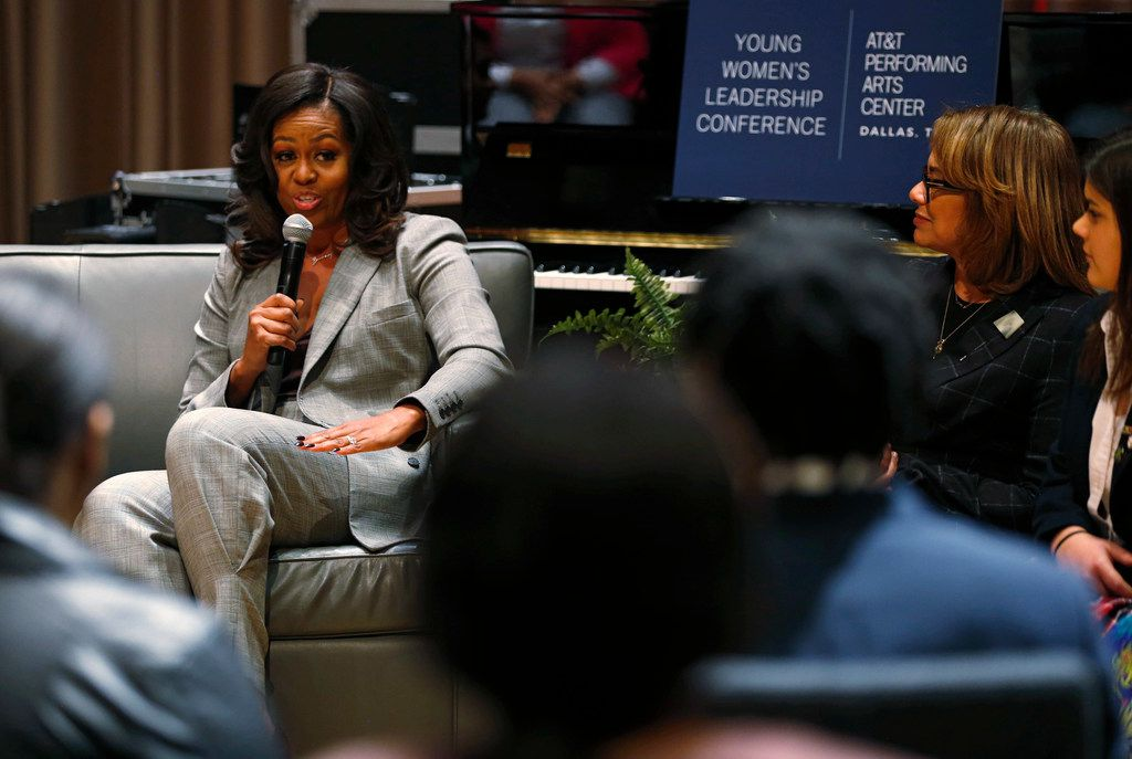 "Former first lady Michelle Obama speaks to students during the first annual Young Women's Leadership Conference at Winspear Opera House in Dallas on Monday, December 17, 2018. Obama is in town promoting her book ""Becoming."" (Vernon Bryant/The Dallas Morning News)"