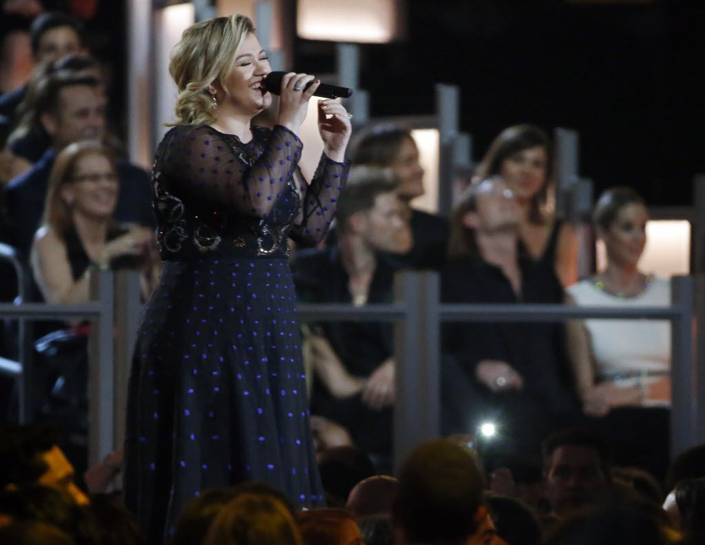 Kelly Clarkson performs during the 2015 Academy of Country Music Awards Sunday, April 19, 2015 at AT&T Stadium in Arlington, Texas.