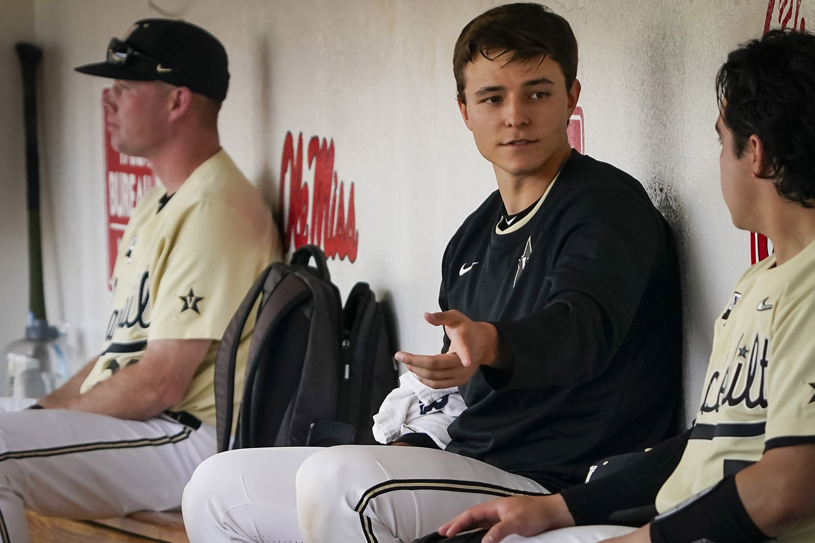 Vanderbilt pitcher Jack Leiter talks with catcher CJ Rodriguez in the dugout during an NCAA baseball game against Mississippi at Swayze Field on Saturday, May 15, 2021, in Oxford, Miss.