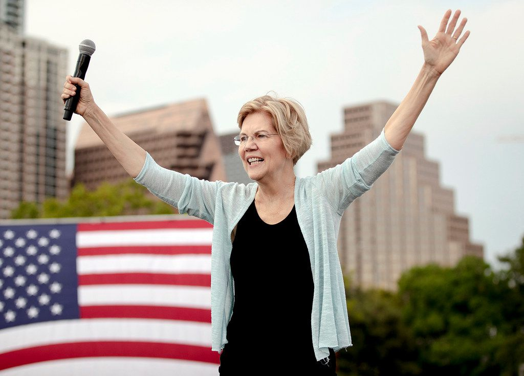Democratic presidential candidate Elizabeth Warren acknowledges supporters during a rally on Tuesday, Sept. 10, 2019, in Austin.