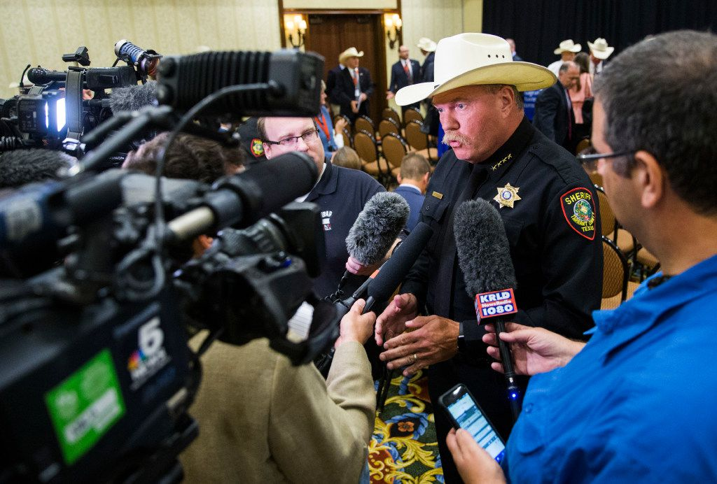 Tarrant County Sheriff Bill E. Waybourn is interviewed by reporters after 18 Texas sheriffs signed new 287(g) agreements from U.S. Immigration and Customs Enforcement (ICE) on July 31, 2017, at the Gaylord Texan in Grapevine.