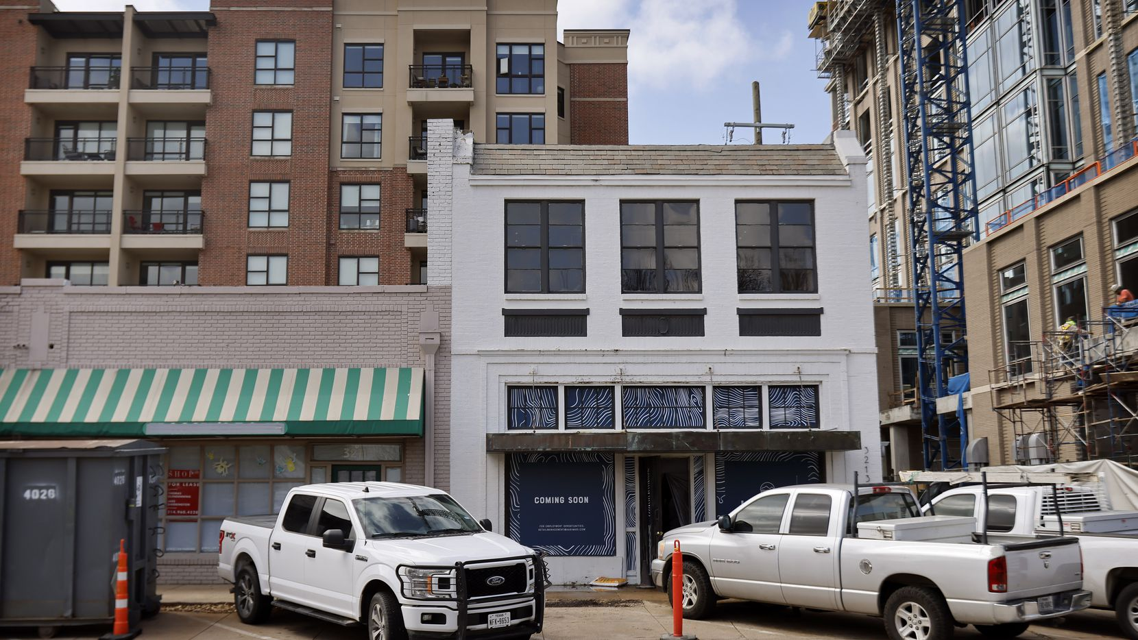An exterior view of the new two-story building that's being renovated to house Hari Mari's flagship store at 3213 Knox Street in Dallas,