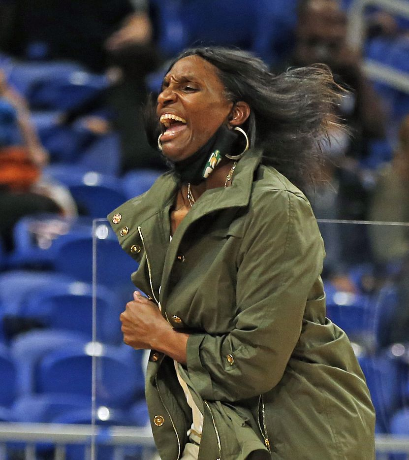 DeSoto head coach Andrea Robinson reacts during the game. DeSoto vs. Cypress Creek girls basketball Class 6A state championship game on Thursday, March 12, 2021 at the Alamodome.