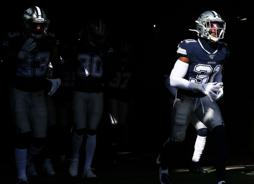 Dallas Cowboys cornerback Byron Jones (31) takes the field for pregame warm ups before an NFL game between the Dallas Cowboys and New York Jets on Sunday, 10 13, 2019 at MetLife Stadium in East Rutherford, New Jersey.