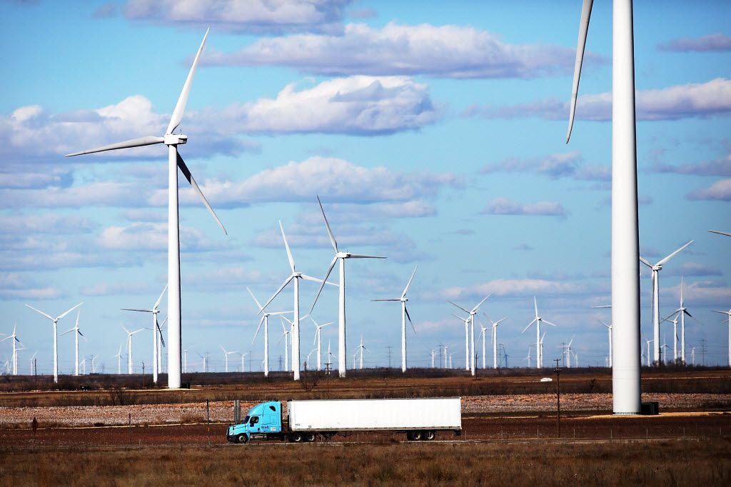 Wind turbines at a wind farm in  Colorado City, Texas.