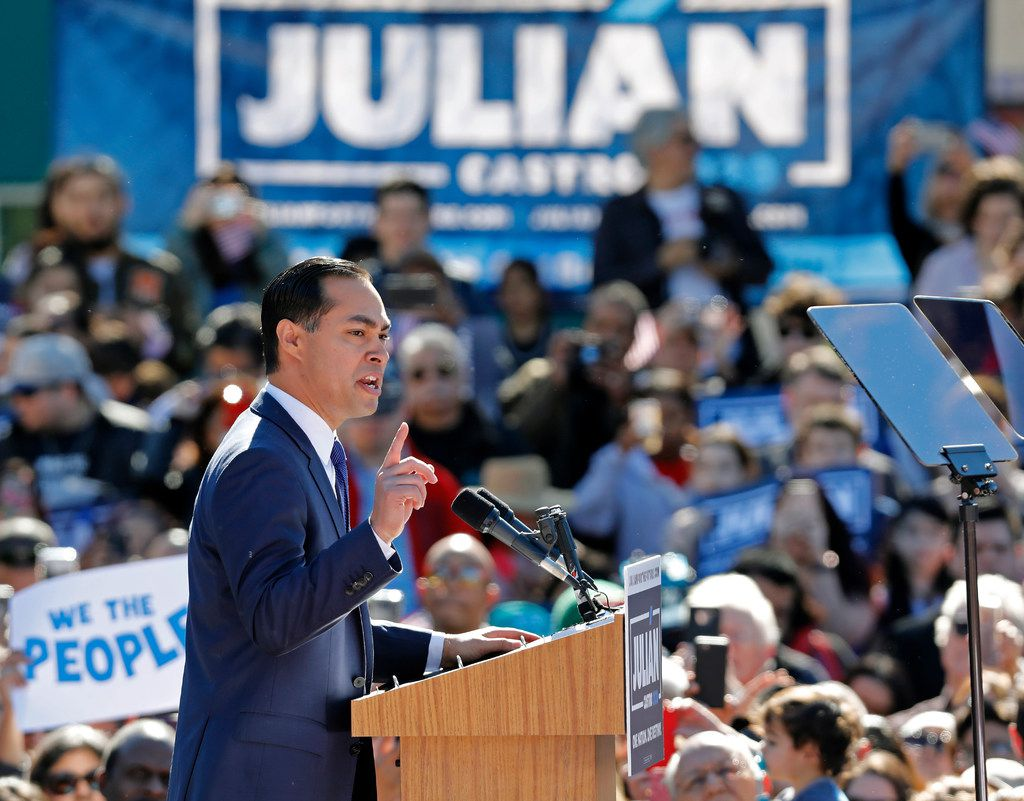 Julián Castro, former U.S. Department of Housing and Urban Development secretary and San Antonio mayor, announces his candidacy for president in 2020, at Plaza Guadalupe on Jan. 12, in San Antonio. If successful, Castro would be the first Hispanic candidate to win the White House.