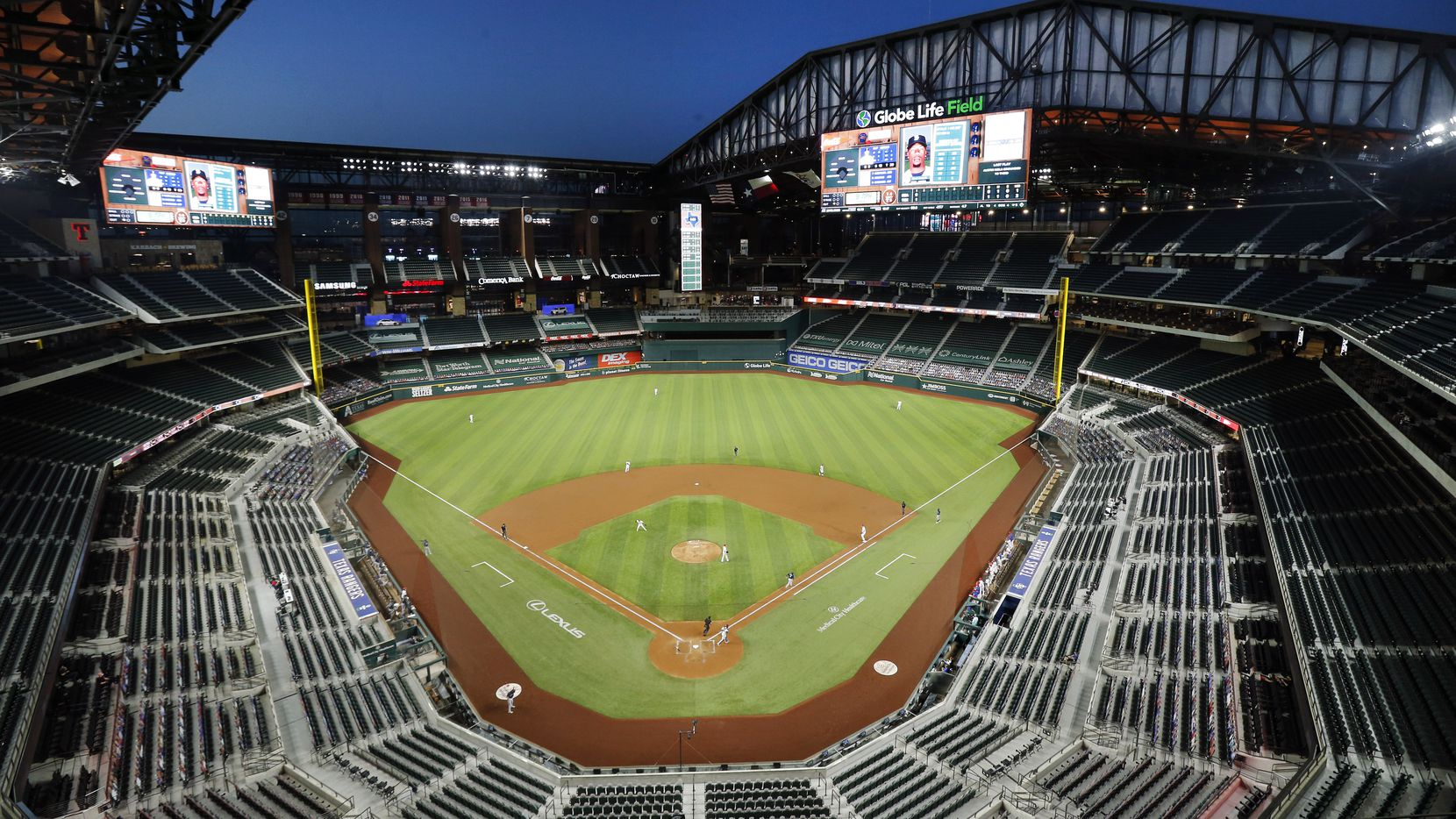 The retractable roof of Globe Life Field was open for the first time during a regular season game as the team faced the Seattle Mariners in Arlington, Monday, August 10, 2020.