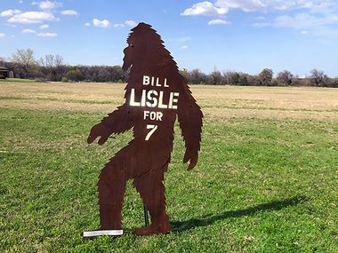 Bill Lisle, a candidate for Place 7 on the Plano City Council, is turning heads with his Bigfoot political signs. This one is pictured outside his home.