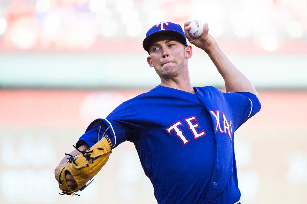 Texas Rangers starting pitcher Mike Minor pitches during the first inning against the San Diego Padres at Globe Life Park on Wednesday, June 27, 2018, in Arlington. (Smiley N. Pool/The Dallas Morning News)